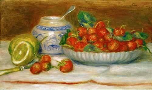 stillleben-gemaelde - Nature morte aux fraises - Renoir, Pierre Auguste
