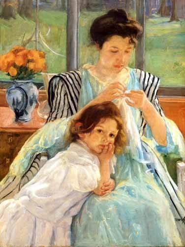 portraetgemaelde - 1900 vers Young mother Sewing - Cassatt, Marie