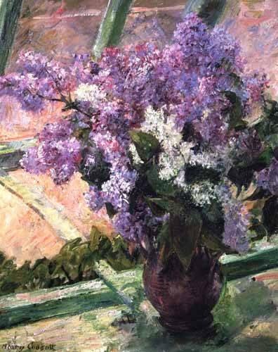blumen-und-pflanzen - Lilacs in a Window, 1880 - Cassatt, Marie