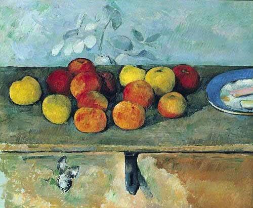 stillleben-gemaelde - Bodegón con manzanas y galletas(1880-82) - Cezanne, Paul