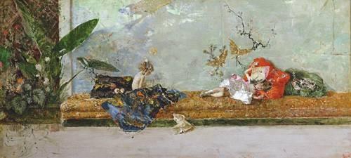 portraetgemaelde - Los hijos del pintor en el salón japones - Fortuny y Marsal, Mariano