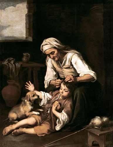 portraetgemaelde - Vieja espulgando a un niño - Murillo, Bartolome Esteban