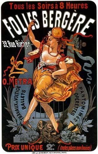 alte-karten-und-zeichnungen - Cartel: Espectaculos en Folies Bergere, 32 rue Richer - _Anonym Frankreich