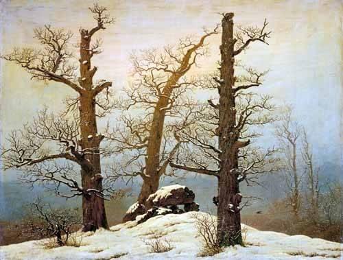 landschaften-gemaelde - Hünengrab im Schnee - Friedrich, Caspar David