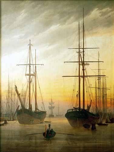 landschaften-gemaelde - Ansicht eines Hafens, 1815 - Friedrich, Caspar David