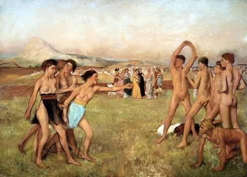 portraetgemaelde - Exercice des jeunes Spartans, 1860 - Degas, Edgar