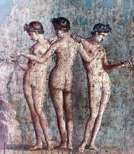 kuenstlerische-aktbilder - Las tres Gracias- Frescos de Pompeya - _Anonym Rom