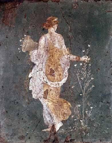 flur-treppenhause - Fille cueillant des fleurs, (Pompéi) - _Anonym Rom