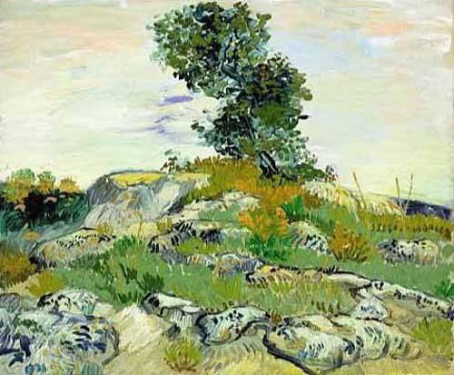 landschaften-gemaelde - Les rochers avec chêne, 1888 (oil on canvas). - Van Gogh, Vincent