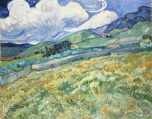 landschaften-gemaelde - Campagne montagneuse derrière l'hôpital St Paul, 1889 - Van Gogh, Vincent