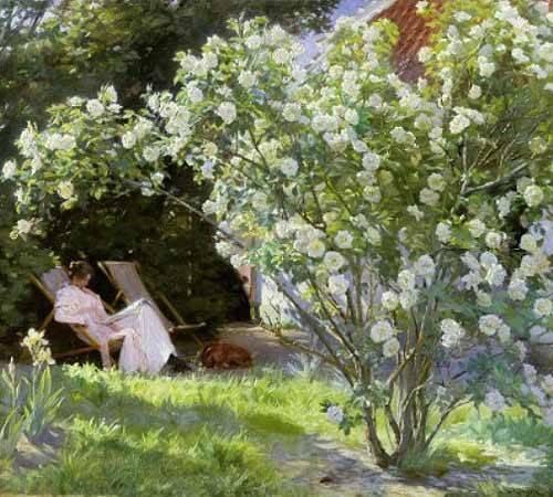 blumen-und-pflanzen - Line Roses (The artists wife at Skagen) - Kroyer, Peder Severin