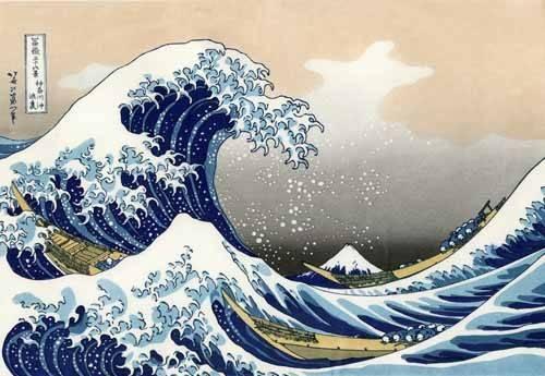 orientalische-gemaelde - die große Welle off Shore von Kanagawa - Hokusai, Katsushika