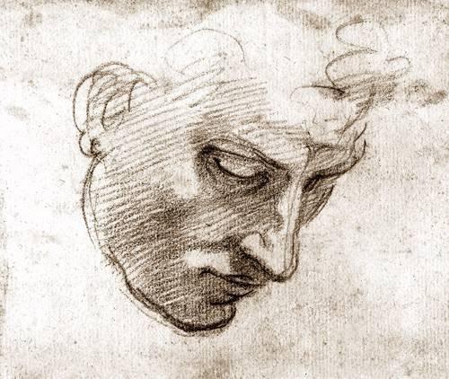 portraetgemaelde - Studio di volto maschile - Buonarroti, Miguel Angel