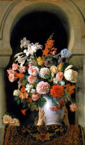 blumen-und-pflanzen - Vase of flowers on a harem s window - Hayez, Francesco