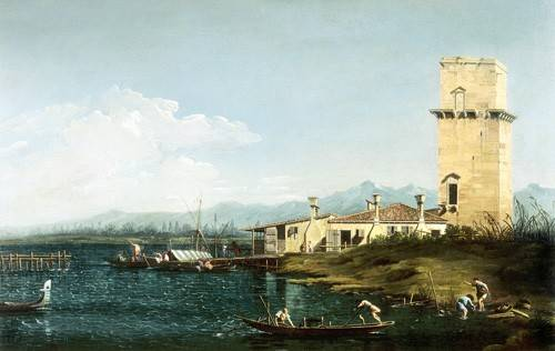 seelandschaft - La torre di Marghera - Canaletto, Giovanni A. Canal