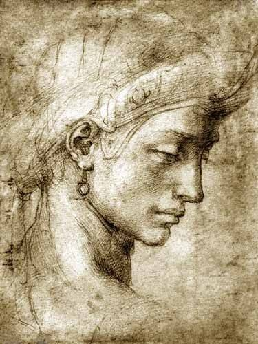 alte-karten-und-zeichnungen - Tête de femme avec boucle d'oreille - Buonarroti, Miguel Angel