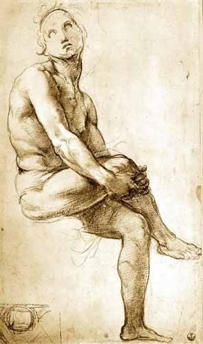 alte-karten-und-zeichnungen - Desnudo masculino sentado - Raphaël, Sanzio da Urbino Raffael