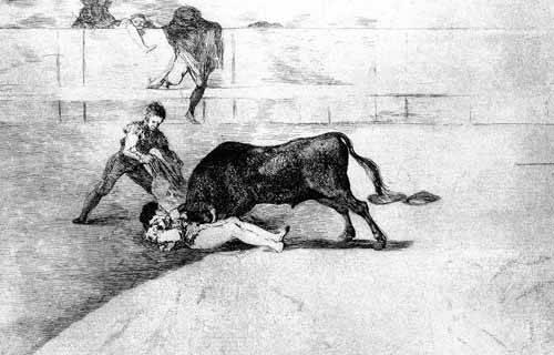 alte-karten-und-zeichnungen - Tauromaquia Num 33 - Desgraciada muerte de Pepe Illo - Goya y Lucientes, Francisco de