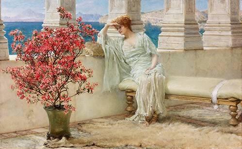 portraetgemaelde - Ihre Augen sind mit ihren Gedanken und sie sind weit weg, 1897 - Alma-Tadema, Lawrence