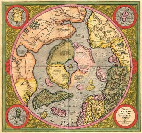 alte-karten-und-zeichnungen - Antique Map, Mercator North Pole - Anciennes cartes