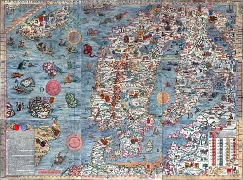 alte-karten-und-zeichnungen - Carta Marina, Edited - Anciennes cartes