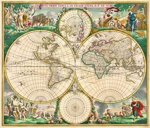 alte-karten-und-zeichnungen - Nova Orbis de Wit, 1670 - Anciennes cartes