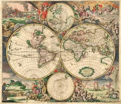 alte-karten-und-zeichnungen - Gerard van Schagen, World Map 1689 - Anciennes cartes
