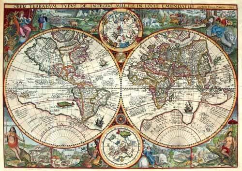 alte-karten-und-zeichnungen - 1594, Orbis Plancius - Anciennes cartes