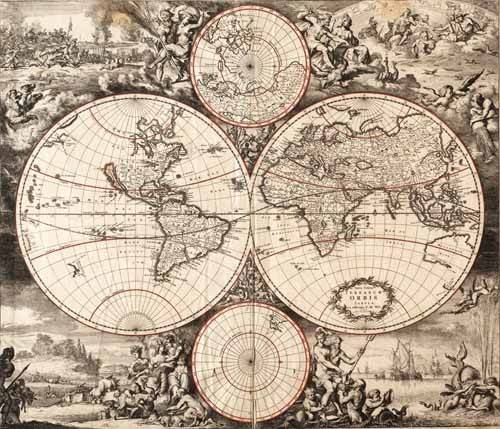 alte-karten-und-zeichnungen - Nova totius terrarium orbis (De Wit, Luyken, De Hooghe) - Anciennes cartes