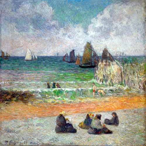 seelandschaft - La plage a Dieppe ou les Baigneuses, 1885 - Gauguin, Paul