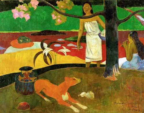 landschaften-gemaelde - Tahitian Idyll - Gauguin, Paul