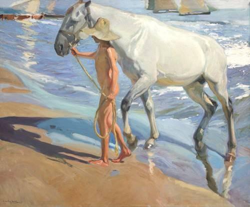 tiermalereien - Le bain du cheval - Sorolla, Joaquin