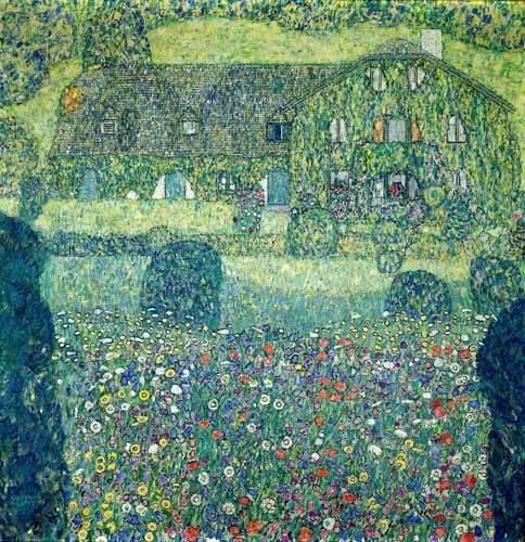 landschaften-gemaelde - Landhaus am Attersee - Klimt, Gustav