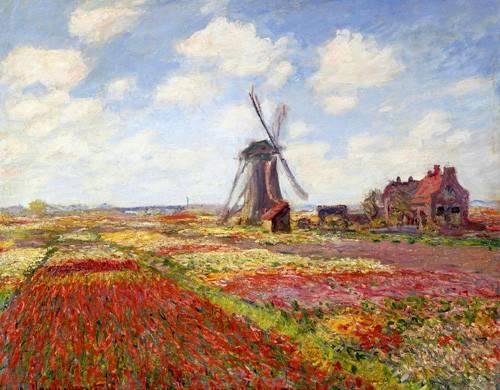 landschaften-gemaelde - Champs de tulipes avec le moulin à vent de Rijnsburg, 1886 - Monet, Claude