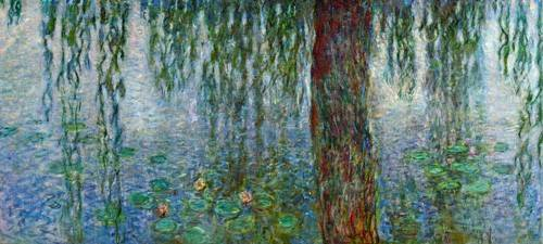 landschaften-gemaelde - Nymphéas, Matin avec saules pleureurs, (partie gauche) - Monet, Claude