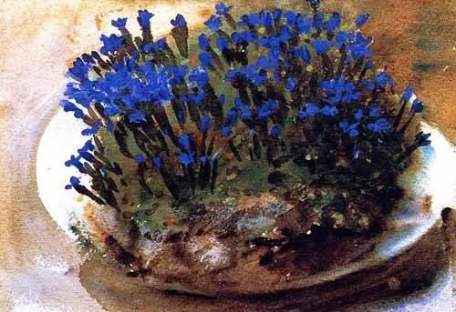 bilder-fuer-ein-esszimmer - Gencianas azules - Sargent, John Singer