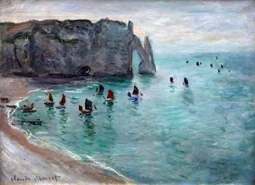 seelandschaft - Étretat, la porte d'Aval: bateaux de pêche sortant du port, 1819 - Monet, Claude