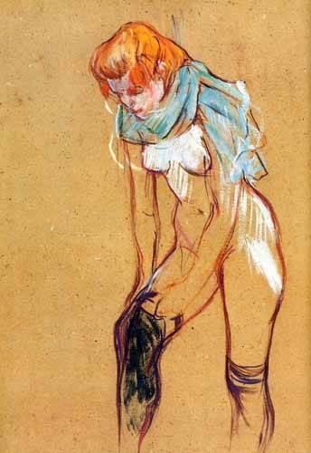 kuenstlerische-aktbilder - Mujer quitándose las medias - Toulouse-Lautrec, Henri de
