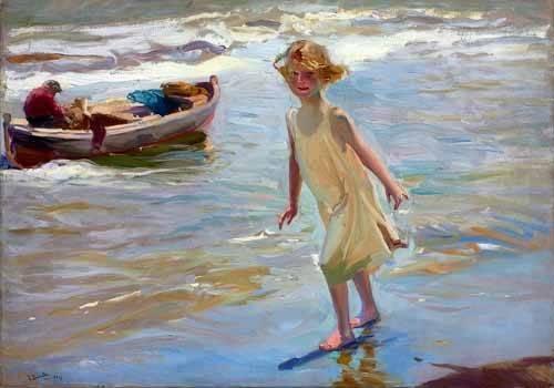 portraetgemaelde - Petite fille marchant sur la plage - Sorolla, Joaquin