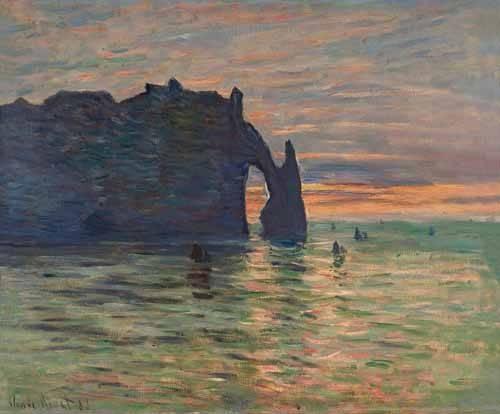 seelandschaft - Soleil couchant à Etretat, 1883 - Monet, Claude