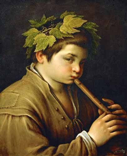 portraetgemaelde - Boy with flute - Bassano, Jacopo da Ponte