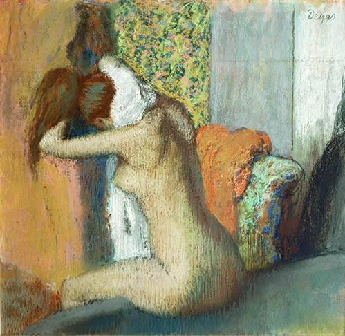 kuenstlerische-aktbilder - Après le bain, femme nue s'essuyant la nuque, 1898 - Degas, Edgar