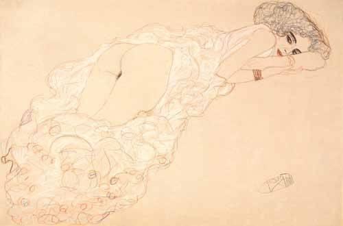kuenstlerische-aktbilder - Liegender Akt auf dem Bauch liegend und nach rechts gerichtet, 1910 - Klimt, Gustav