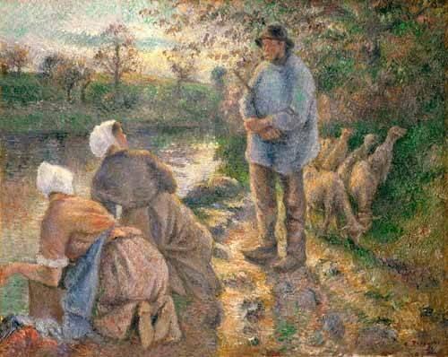 portraetgemaelde - Le Berger et les Laveuses, 1881 - Pissarro, Camille