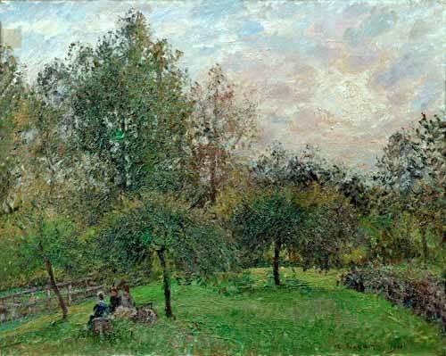 landschaften-gemaelde - Pommiers et peupliers au soleil couchant, 1901 - Pissarro, Camille