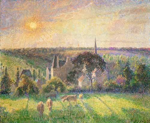 landschaften-gemaelde - L'église et la ferme d'Eragny (1895) - Pissarro, Camille