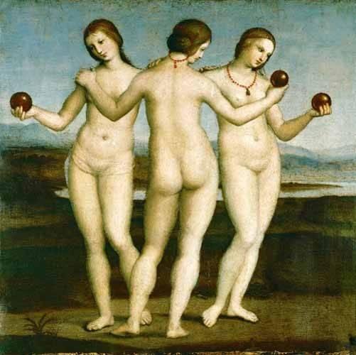 kuenstlerische-aktbilder - Las Tres Gracias - Raphaël, Sanzio da Urbino Raffael