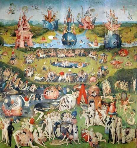 landschaften-gemaelde - Le jardin des délices (détail du panneau central) - Bosco, El (Hieronymus Bosch)