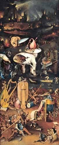 landschaften-gemaelde - Le jardin des délices (détail du panneau de droite) - Bosco, El (Hieronymus Bosch)