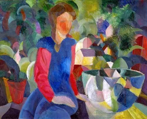 portraetgemaelde - Jovencita con pecera - Macke, August
